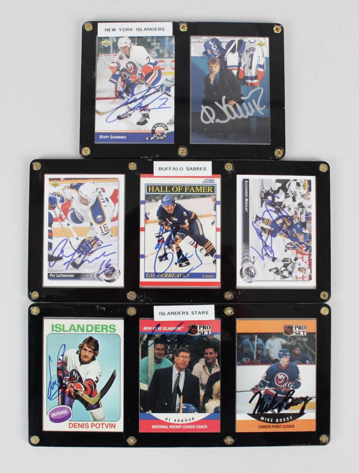 Islanders & Sabres Signed 7 Cards Displays Bossy, Potvin, Gil Perreault44237_01