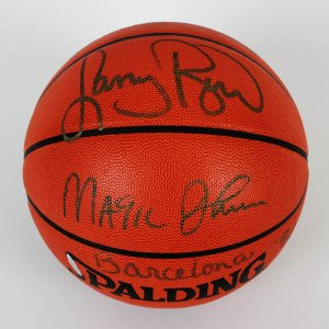 Dream Teams Magic Johnson & Larry Bird Signed Basketball (COA UDA)