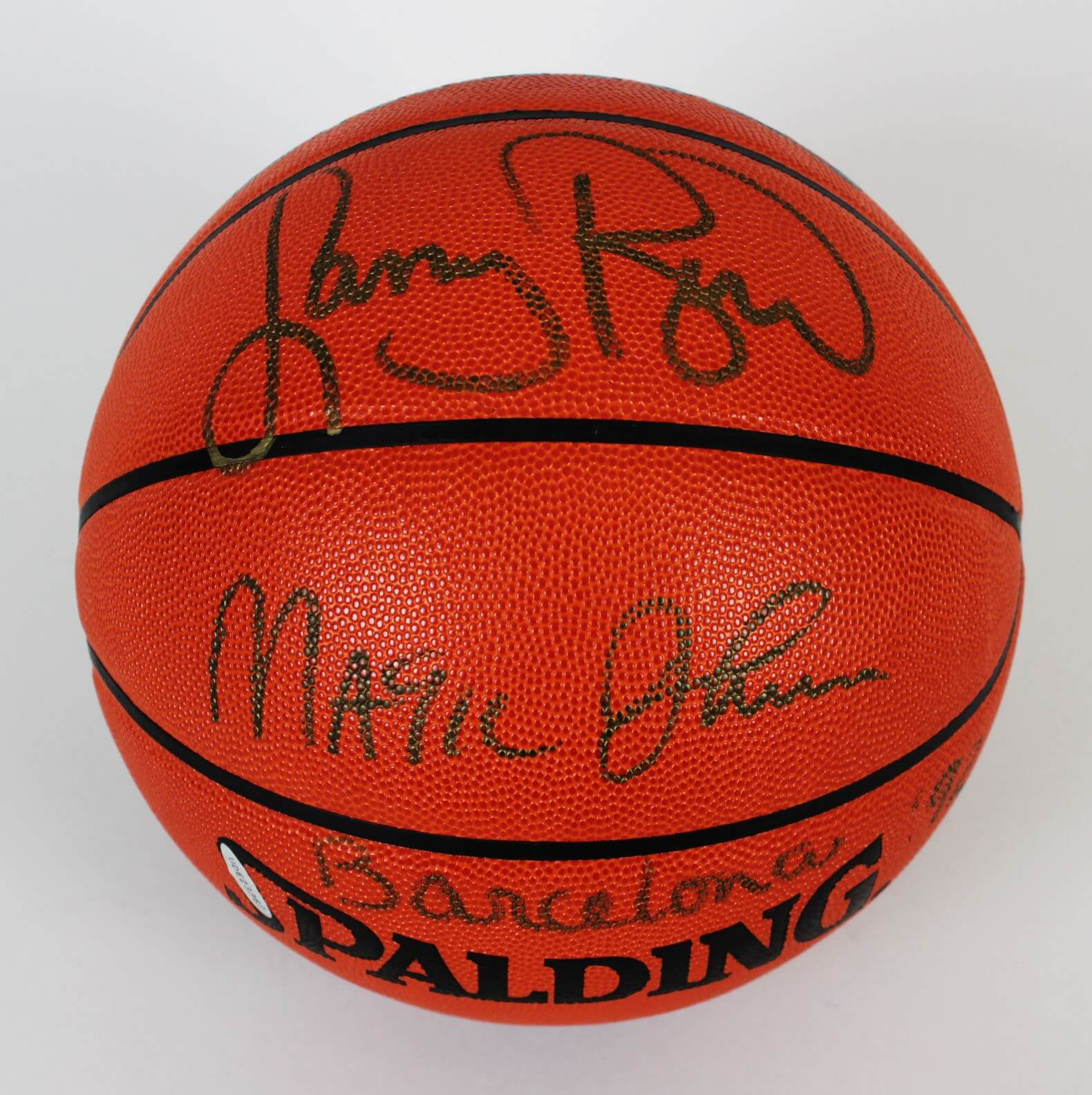 c1af5f2ddb9 Dream Team – Magic Johnson   Larry Bird Signed Basketball – COA UDA ...