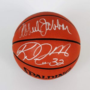 Lakers Kareem Abdul Jabbar & Jazz Karl Malone Signed Basketball - COA JSA