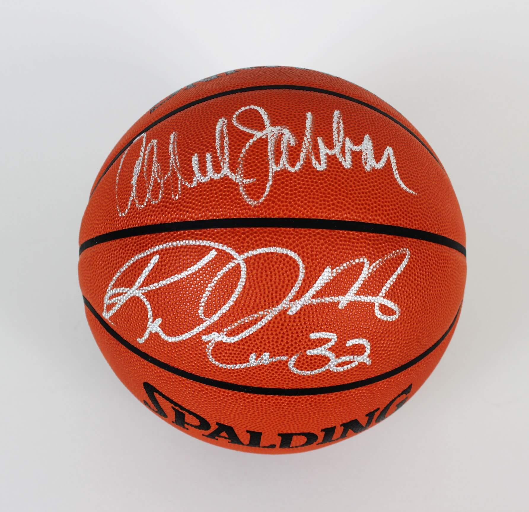 Lakers Kareem Abdul Jabbar & Jazz Karl Malone Signed Basketball - COA JSA