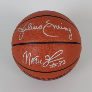 HOF's Magic Johnson & Julius Erving Signed Basketball - JSA
