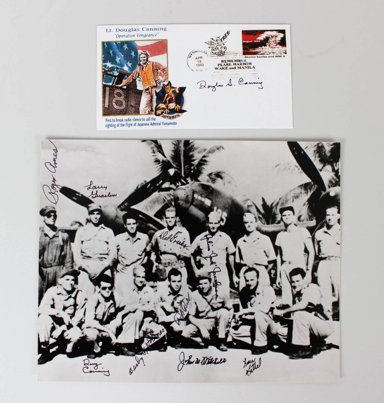1943 8x10 Signed By Nine Pilots Of Fighter Squadron P-38 Shot Down Admiral Yamamoto Rex Barber