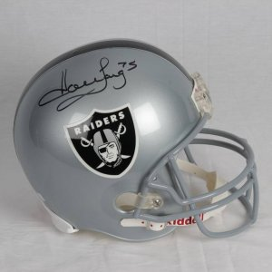 Howie Long Raiders Signed Inscribed (75) Riddell Replica Helment Player Hologram