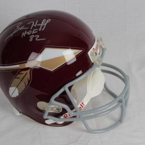 Sam Huff Washington Redskins Signed and Inscribed (HOF 82) Riddell Replica Full Size Helmet
