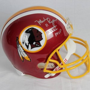Mark Rypien Redskins Signed Inscribed ( XXVI MVP )Full Size Riddel Replica l Helmet Photo From Signing