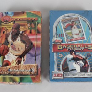 Topps Finest Sealed Wax Box Lot 1993 Baseball & 1993-94 Basketball (Possible Refractors)