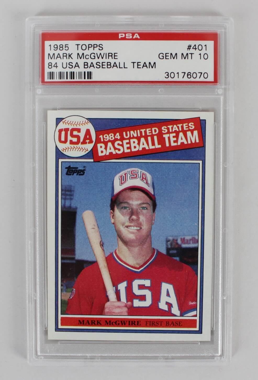1985 Topps Mark Mcgwire Usa Baseball Rookie Card 401 Psa Gem Mt 10