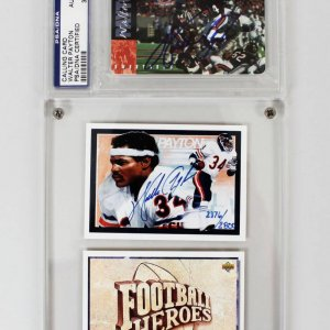 Pair of Chicago Bears - Walter Payton Signed Football Cards (UDA COA)