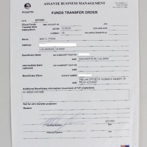 Boxing Legend - Mike Tyson Signed Bank Document (PSA/DNA COA)