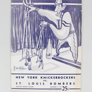 1947 NY Knickerbockers (Knicks) vs. St. Louis Bombers Program at Madison Square Garden