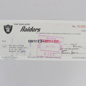 1977 Oakland Raiders - Al Davis Signed Check to Daily Review (PSA/DNA Full LOA)