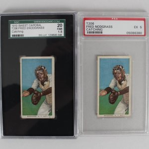Lot of (2) 1910 T206 Card - Fred Snodgrass (Catching) Graded PSA EX 5 & SGC FAIR 1.5