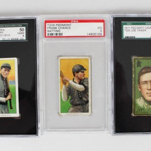 Double Play Lot of (3) Cards - 1911 T205 Joe Tinker (SGC VG 3), 1910 T206 Frank Chance (PSA VG 3) & Johnny Evers (SGC VG/EX 4)