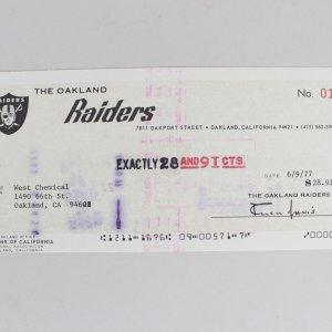 1977 Oakland Raiders - Al Davis Signed Check (PSA/DNA Full LOA)