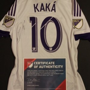 A Kaka Game-Used & Signed #10 Orlando City SC Away Shirt.  July 4, 2015 v. Real Salt Lake.  MLS COA.