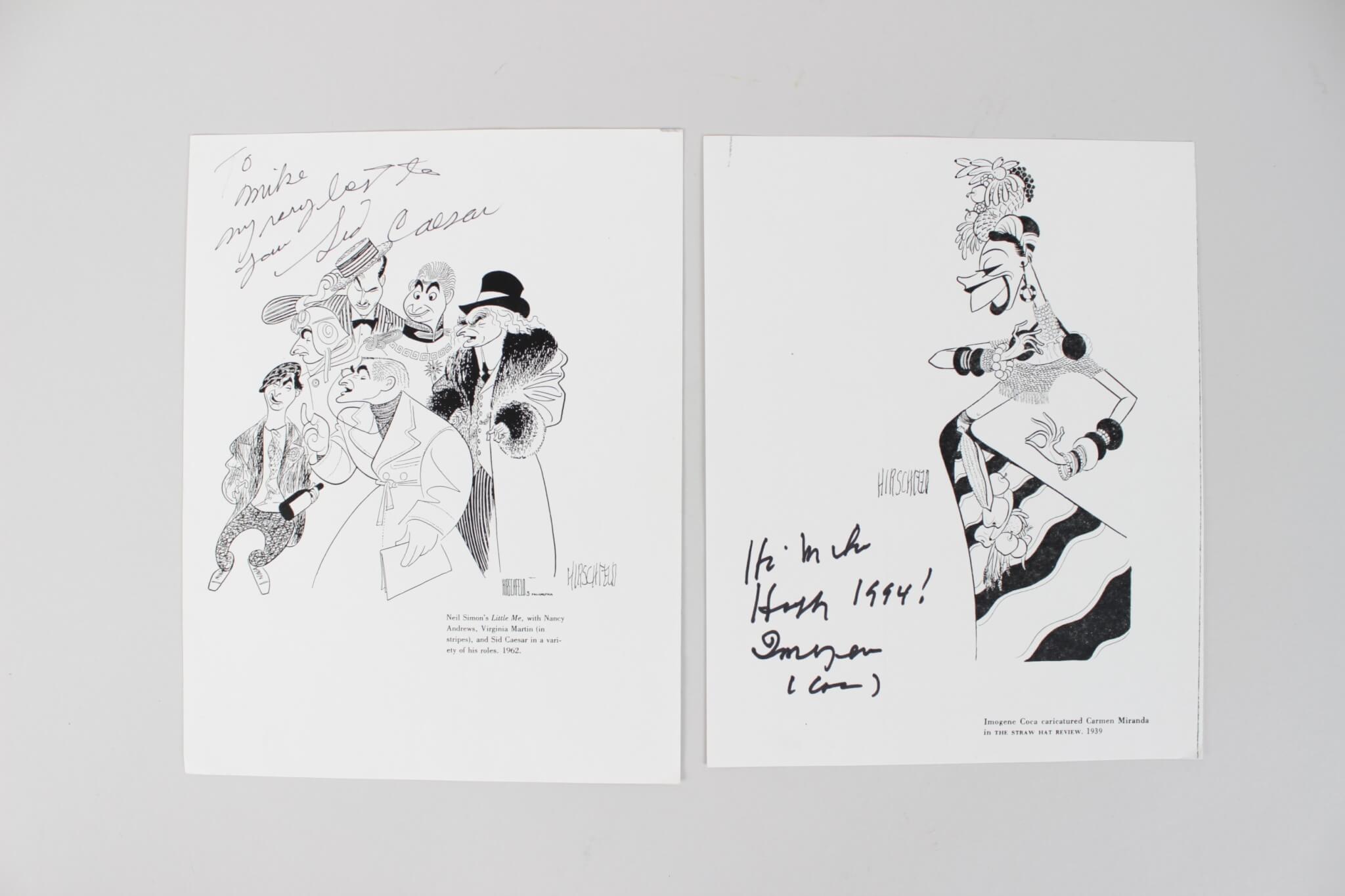 Imogene Coca & Sid Caesar Signed Prints - COA