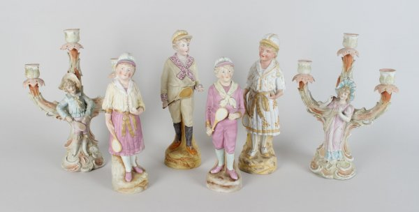 1880's Heubach Tennis Statues (4) and Matching Period Tennis-Themed Candelabra (2)