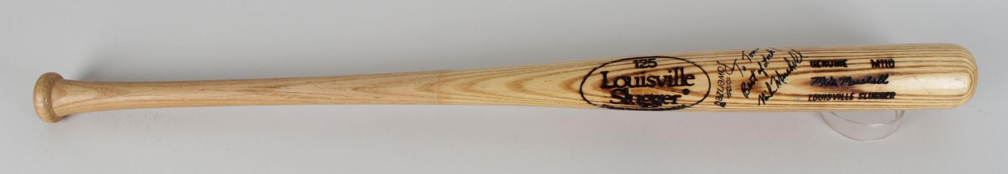 California Angels Mike Marshall Game-Used, Signed Louisville Slugger M110 Bat35975_01