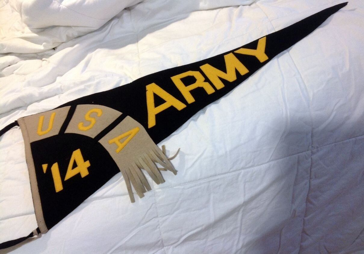 1914 Army College Football Pennant Rare Vintage Pennant, 29 1/2 inches long