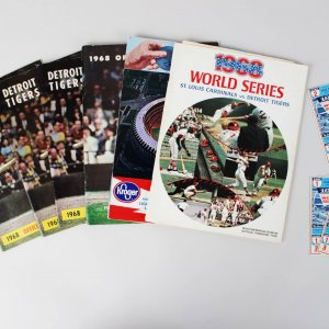 1960s Detroit Tigers & St. Louis Cardinals Lot - '68 World Series Program & (2) Tickets, Yearbook etc.