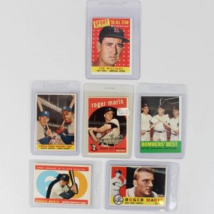 1958-63 Topps Baseball (6) Card Lot - (3) Roger Maris, Mickey Mantle & Hank Aaron, Ted Williams etc.