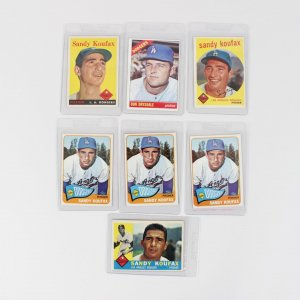 Los Angeles Dodgers Topps Baseball (7) Card Lot feat. (6) 1958-65 Sandy Koufax & '66 Don Drysdale