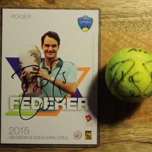 A Roger Federer Game-Used & Signed Match Ball.  Includes Signed Postcard.  2015 ATP Western & Southern Open Final (Men's Singles Champion).
