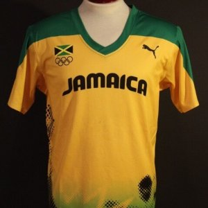 An Usain Bolt Game-Used Puma Jamaica Shirt.  2012 London Olympic Games (Triple Gold Medalist).