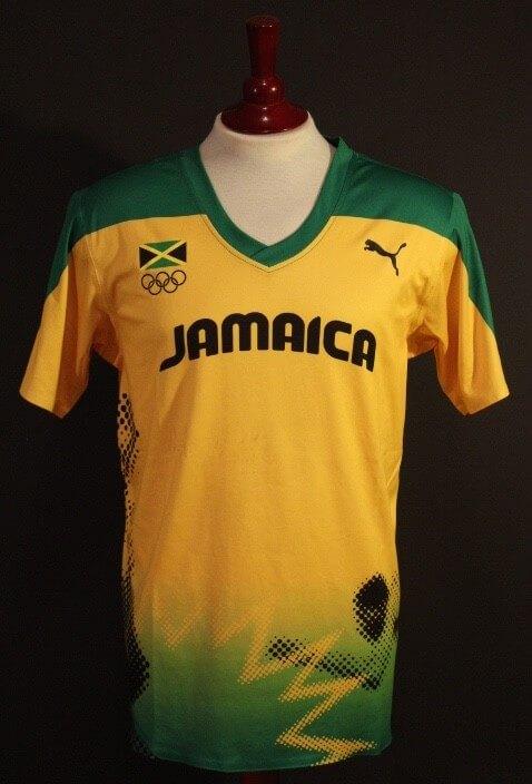 An Usain Bolt Game-Used Puma Jamaica Shirt.  2012 London Olympic Games (Triple Gold Medalist).