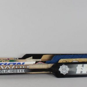 Lot of 5 NHL Goalie Game-Used Hockey Sticks HOFer Byron Dafoe, Shtalenkov, Hebert, Casey & Fiset