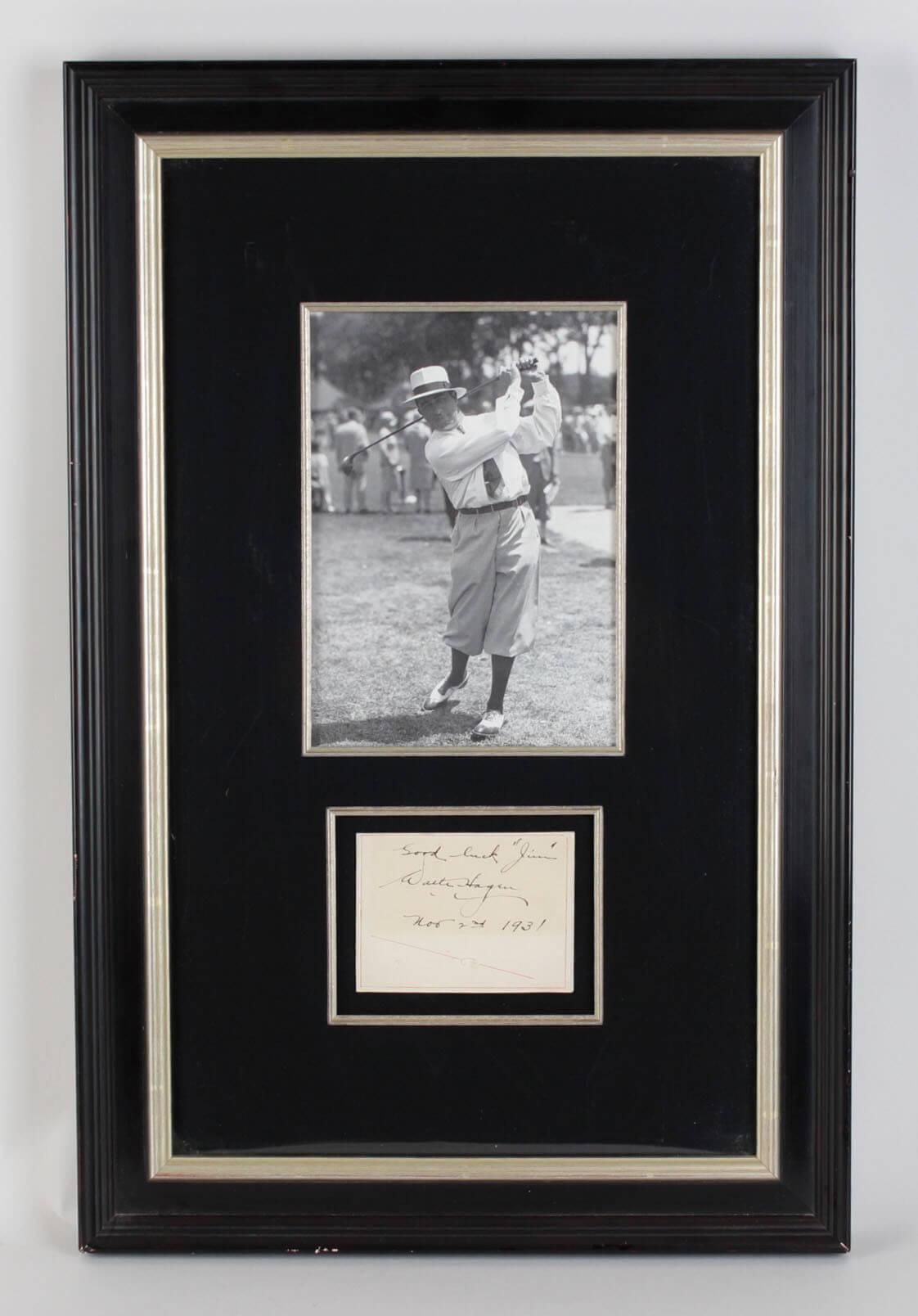 Golf Legend - Walter Hagen Signed, Inscribed & Dated Cut Display - JSA Full LOA