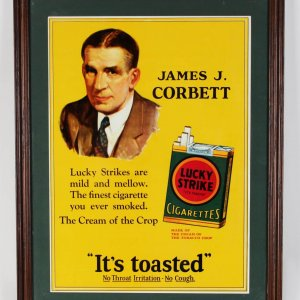 "1920s Lucky Strike Cigarettes Advertising 14"" x 19""Poster Featuring James J. Corbett"