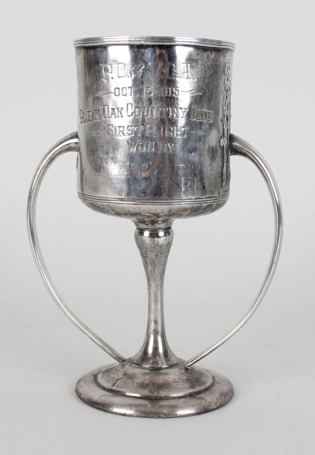1915 Glen Oaks Country Club Sterling Silver First Flight Golf Trophy Won by Harry C. Quest