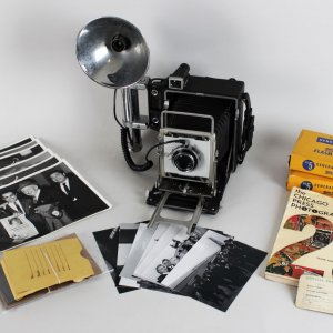 1960s Chicago Press Louis Giampa - Photos & Negatives (John F. Kennedy, Rocky Marciano etc.) & Graflex Camera w/Flash