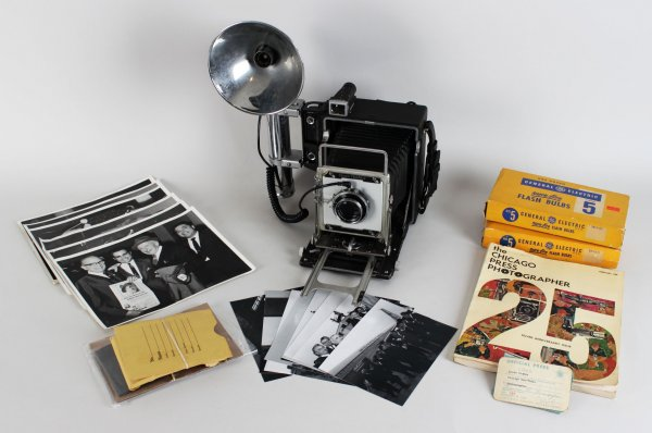 Louis Giampa Vintage Chicago Press Photographer Camera, Negatives, Photos