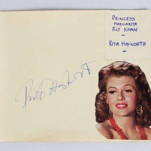 Rita Hayworth Signed 5x6 Cut