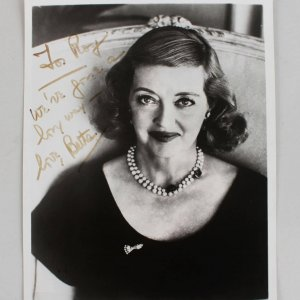 Bette Davis Signed Inscribed B&W 8x10 Photo