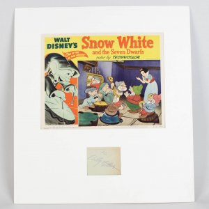 1951 US Snow White Lobby Card & Signed Billy Gilbert (Sneezy) Cut Display
