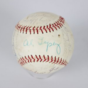 1959 WS Champs Team Signed Baseball Chicago White Sox Nellie Fox, Al Lopez, Luis Aparicio, Larry Doby, Johnny Romano, Barry Latman, Earl Battey, Gerry Staley, Don Gutteridge, Tony Cuccinello, Johnny Cooney, Dick Donovan, Jim Rivera, Ray Berres, Jim McAnany, Rudy Arias, Bubba Phillips,. Signatures are signed in blue ball point pen graded 6-7. The 1959 Chicago White Sox season was the team's 59th season in the major leagues, and its 60th season overall. They finished with a record 94–60, good enough to win the American League (AL) championship, five games ahead of the second place Cleveland Indians. It was the team's first pennant since 1919 and would be its last until their championship season of 2005.