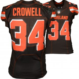 September 13, 2015 New York Jets vs. Cleveland Browns Isaiah Crowell Game-Used Brown #34 Jersey (NFL Team COA)