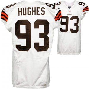 2014 Cleveland Browns John Hughes  Game Used White #93 Jersey (NFL Team COA)