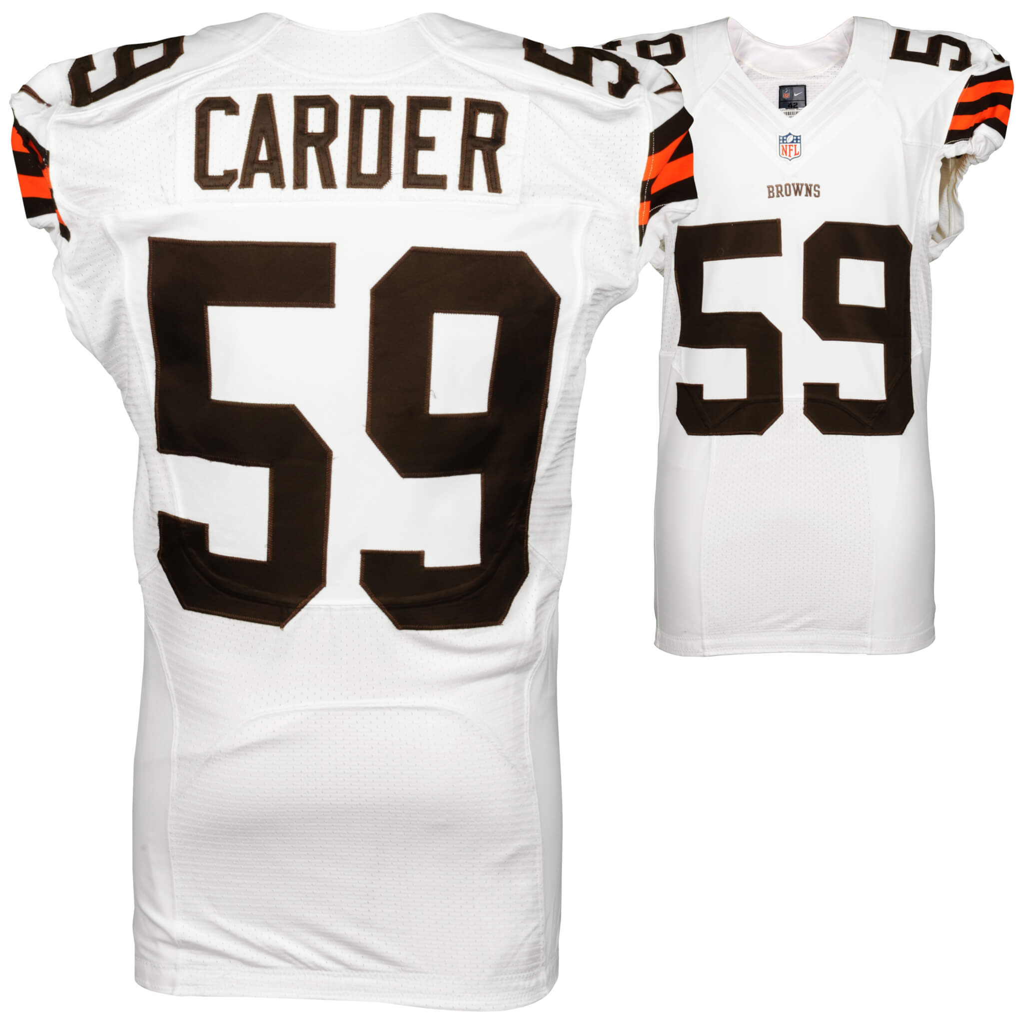 2014 Cleveland Browns Tank Carder Game Used White #59 Jersey (NFL Team COA)