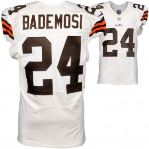 2014 Cleveland Browns Johnson Bademosi Game Used White #24 Jersey (NFL Team COA)