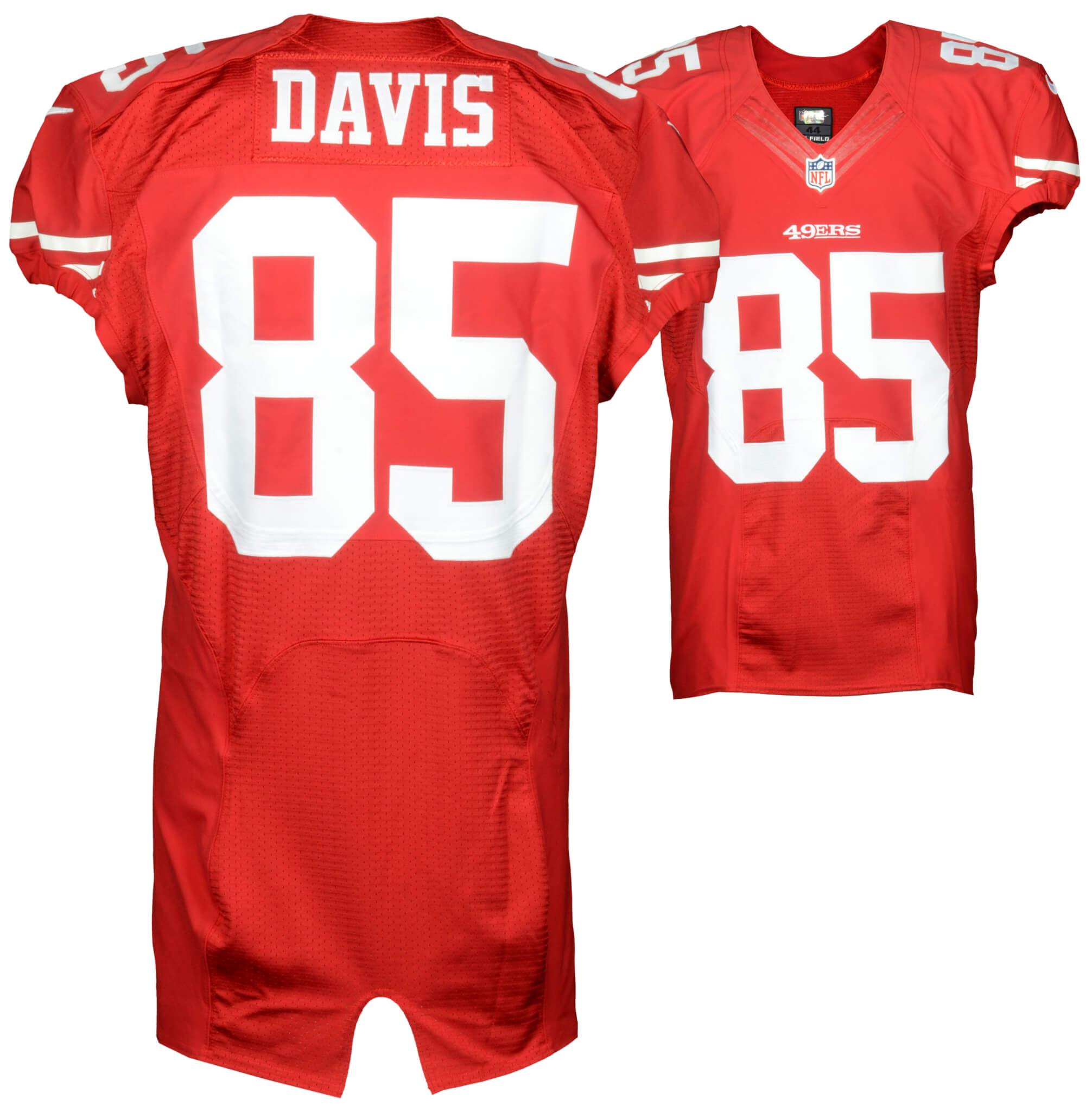release date: 0ea3d 808f0 October 18, 2015 - Baltimore Ravens vs. San Francisco 49ers Vernon Davis  Game-Used Red Jersey (NFL Team COA)