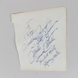 The Mills Brothers - Harry, Donald & Herbert Mills Signed 5x6 Cut