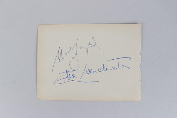 Charles Laughton, Elsa Lanchester, & Linda Darnell Signed 5x6 Cut