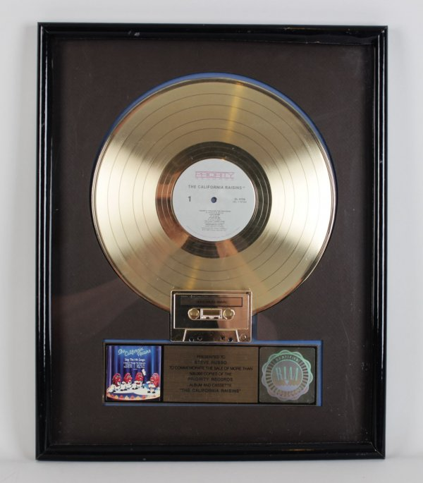 "The California Raisins "" Priority Records"" Gold Record Award - Presented To Steve Russo"