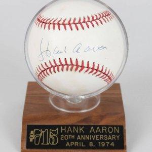 Atlanta Braves Hank Aaron Signed ONL (White) Baseball