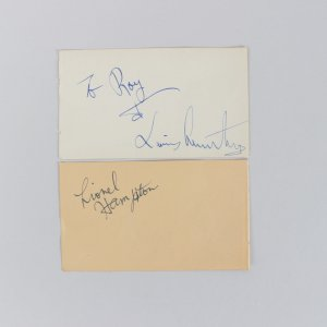 Singers Lionel Hampton & Luis Armstrong Signed 3x5 Cuts